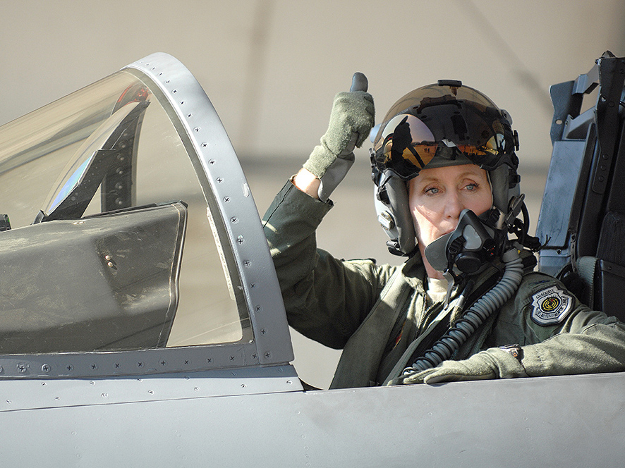 Jeannie Leavitt in cockpit of jet