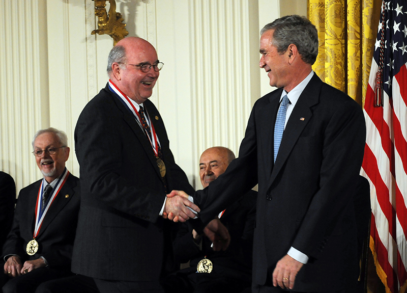 Grant Willson receives the National Medal of Technology from former President George W. Bush