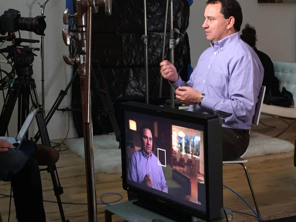 A behind-the-scenes look of Michael Webber during an interview for his PBS special.