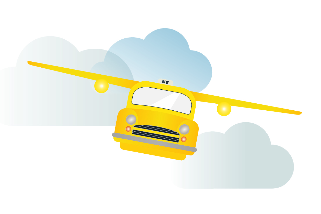 Illustration of a taxi flying through clouds