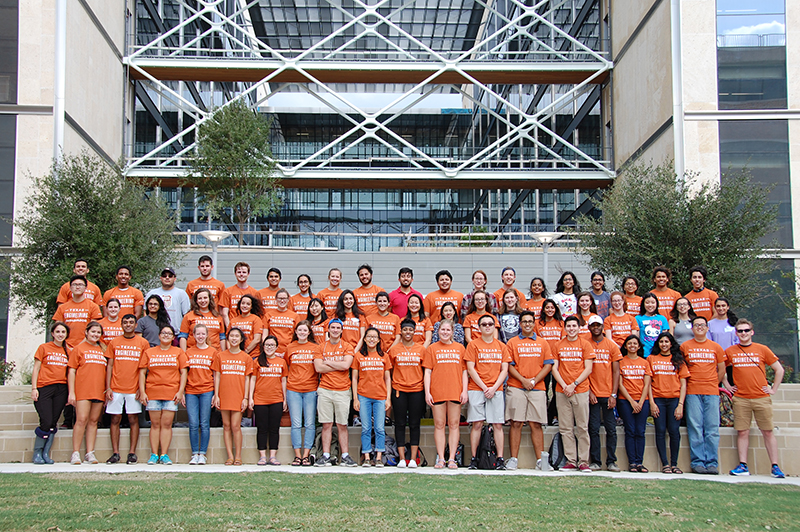 The engineering ambassadors gather for a group photo in front of the EER building