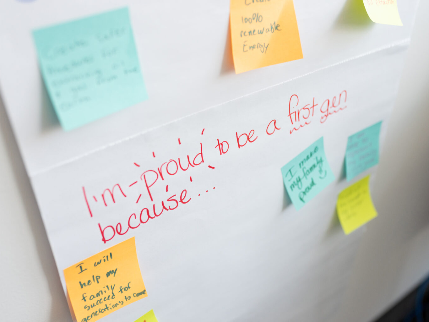 hand-written messages on post-its and white board
