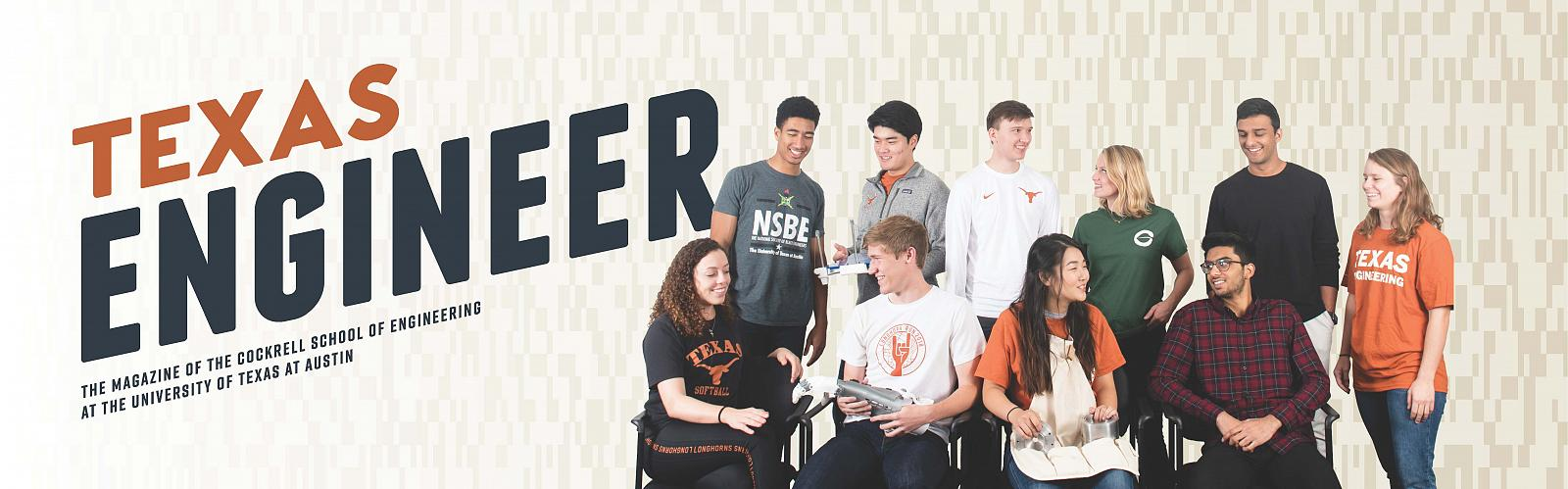 cover of Texas Engineering magazine with group of students