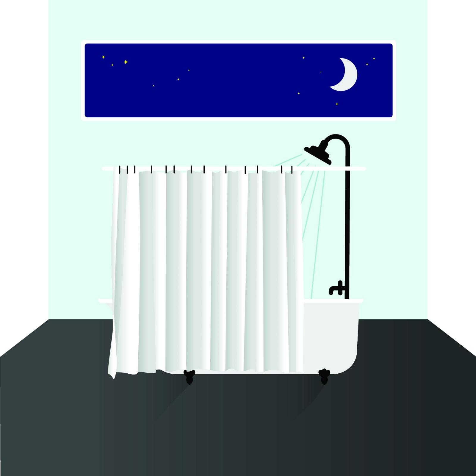 Illustration of a shower at nighttime