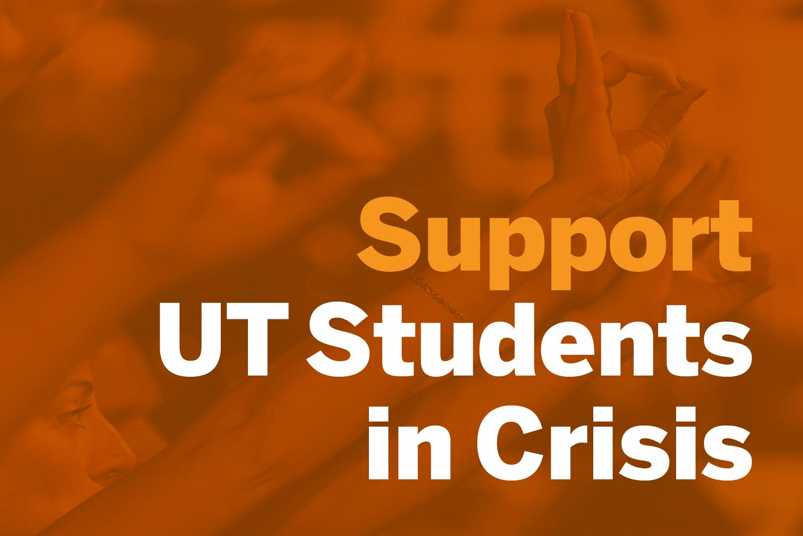 graphic of students with words support ut students